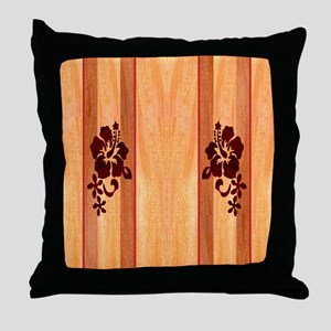 Faux Wood Surfboard Throw Pillow