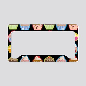 Cute Cupcakes On Black Backgr License Plate Holder