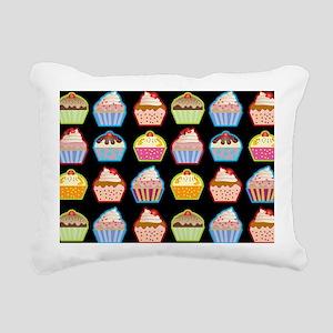 Cute Cupcakes On Black B Rectangular Canvas Pillow
