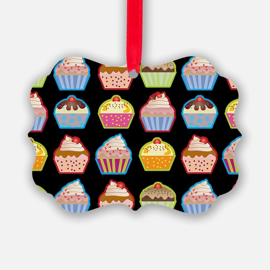 Cute Cupcakes On Black Background Ornament