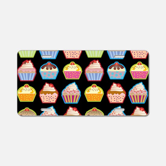 Cute Cupcakes On Black Back Aluminum License Plate