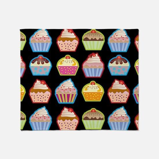 Cute Cupcakes On Black Background Throw Blanket