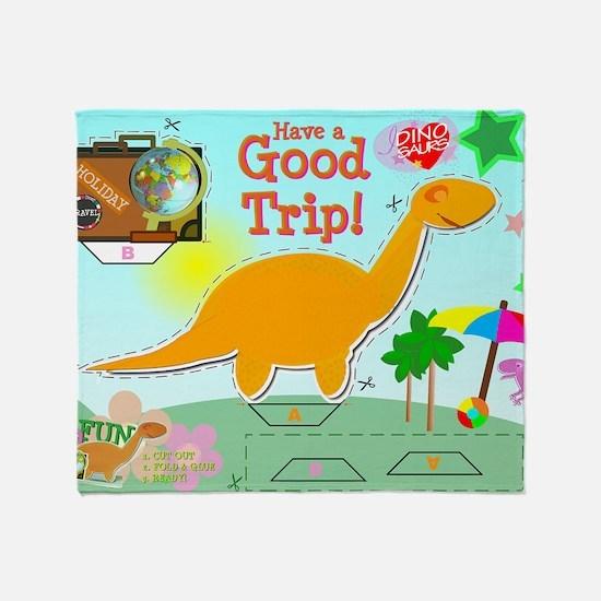 Good Trip Cartoon Dinosaur Craft Throw Blanket
