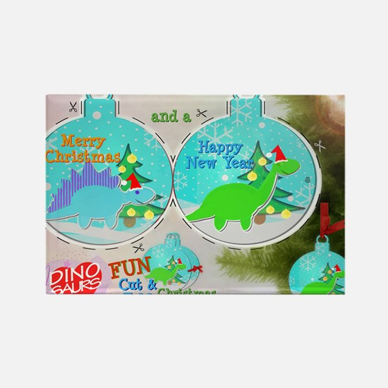 Merry Christmas Cartoon Dinosaur  Rectangle Magnet