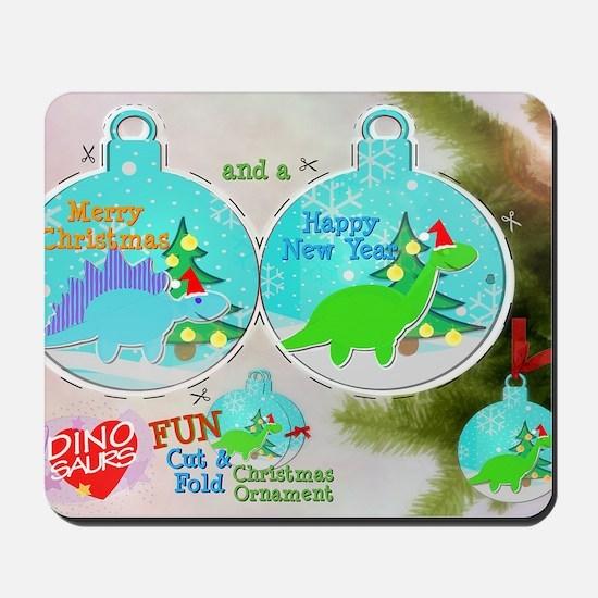 Merry Christmas Cartoon Dinosaur Craft Mousepad