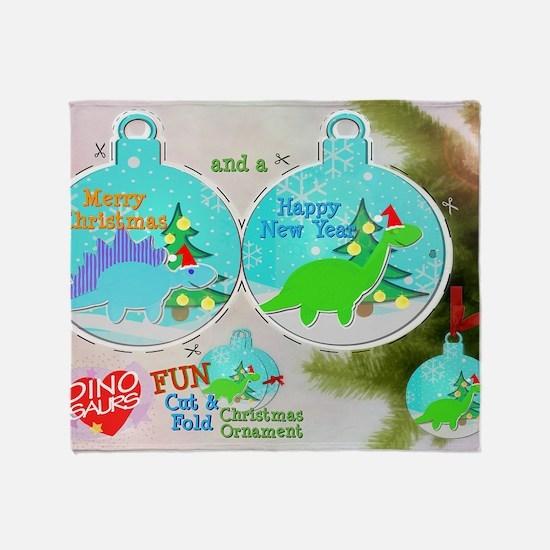 Merry Christmas Cartoon Dinosaur Cra Throw Blanket