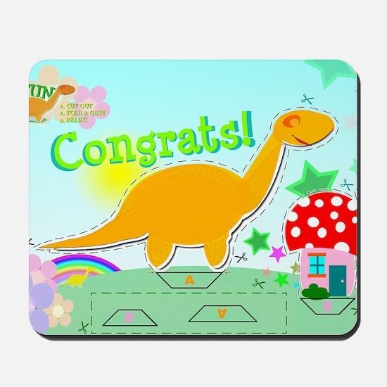 Congrats Cartoon Dinosaur Toad House Cra Mousepad