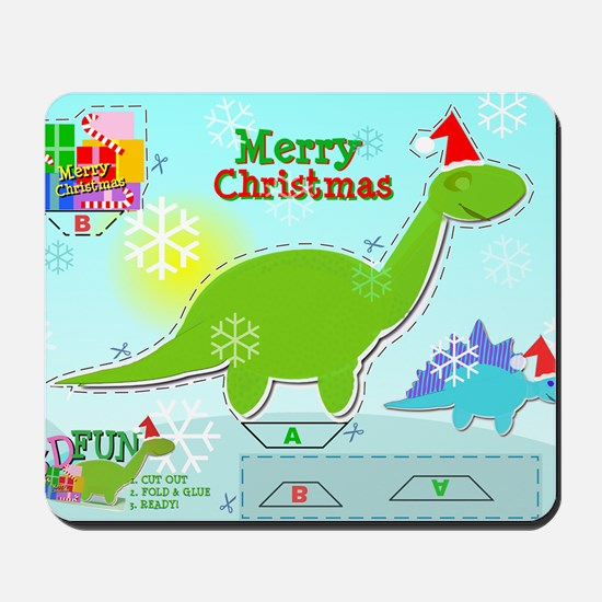 Cute Christmas Cartoon Dinosaur Craft Mousepad
