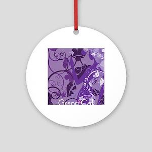 Grape Cat Rectangular Locker Frame Round Ornament