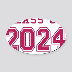 Class of 2024 (Pink) Oval Car Magnet