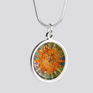 Park Guell Barcelona Silver Round Necklace