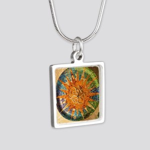 Park Guell Barcelona Silver Square Necklace