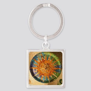 Park Guell Barcelona Square Keychain