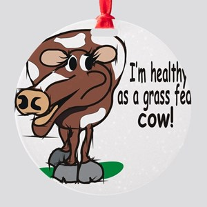 Grass Fed Cow Round Ornament