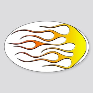 Cool Car Flames Sticker (Oval)