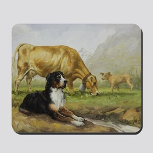 Greater Swiss Mountain Dog and Brown Swi Mousepad