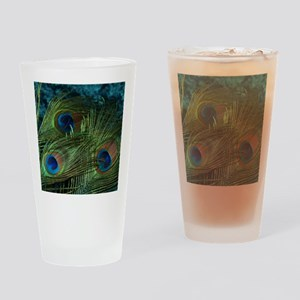 Green Peacock Feather Drinking Glass