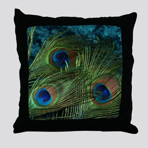 Green Peacock Feather Throw Pillow