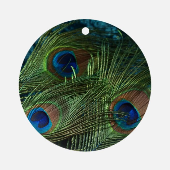Green Peacock Feather Round Ornament