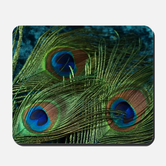 Green Peacock Feather Mousepad