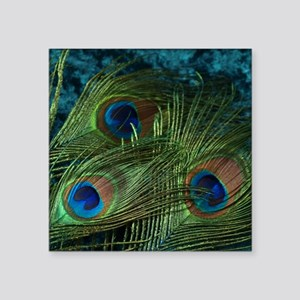"Green Peacock Feather Square Sticker 3"" x 3"""