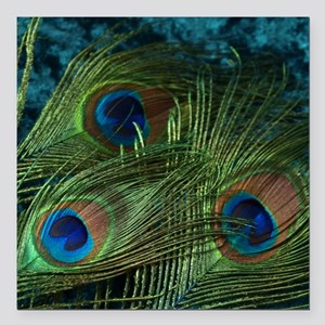 """Green Peacock Feather Square Car Magnet 3"""" x 3"""""""