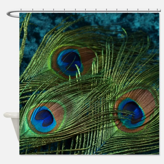 Green Peacock Feather Shower Curtain