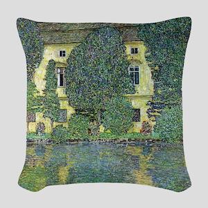 Schloss Kammer By Gustav Klimt Woven Throw Pillow
