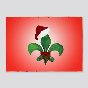 Santa Christmas Fleur de lis 5'x7'Area Rug