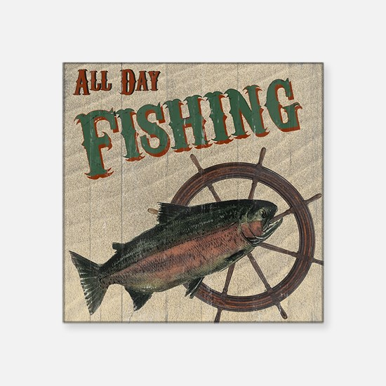 "All Day Fishing Square Sticker 3"" x 3"""