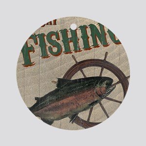 All Day Fishing Round Ornament