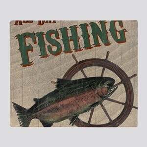 All Day Fishing Throw Blanket