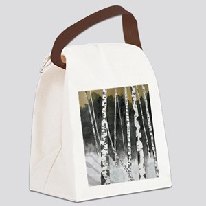 Birch tree landscape painting Canvas Lunch Bag