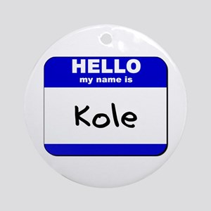 hello my name is kole  Ornament (Round)