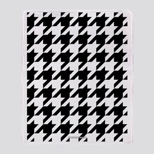 Houndstooth White Throw Blanket