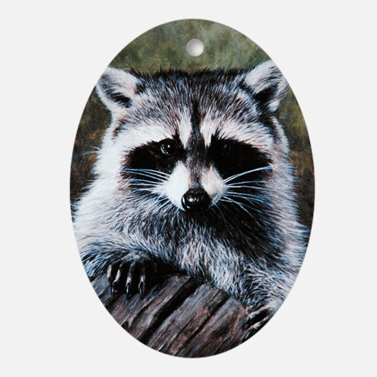 Raccoon Portrait Oval Ornament