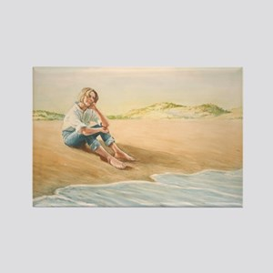 Woman on the Beach Rectangle Magnet