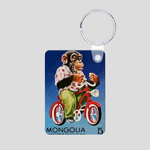 1973 Mongolia Chimp Riding Aluminum Photo Keychain