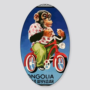 1973 Mongolia Chimp Riding Bicycle  Sticker (Oval)