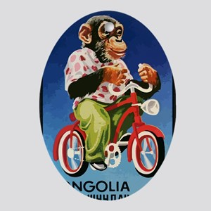 1973 Mongolia Chimp Riding Bicycle P Oval Ornament