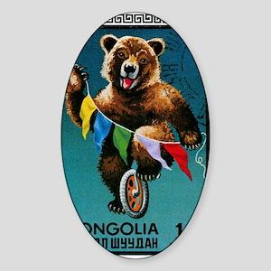 1973 Mongolia Bear Riding Wheel Pos Sticker (Oval)