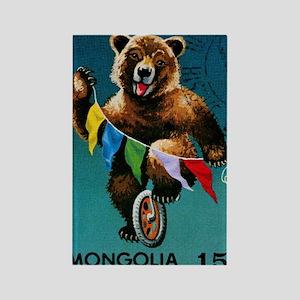 1973 Mongolia Bear Riding Wheel P Rectangle Magnet