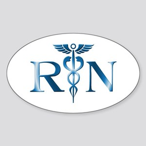 RN Nurse Caduceus Oval Sticker