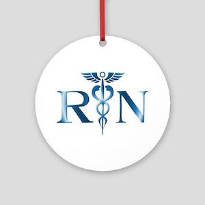 RN Nurse Caduceus Ornament (Round)