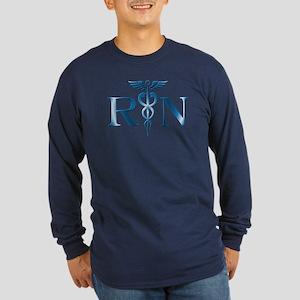 RN Nurse Caduceus Long Sleeve Dark T-Shirt