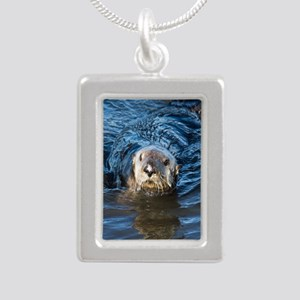 Alaska Sea Otter Silver Portrait Necklace