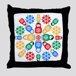 Adorable Nesting Dolls Throw Pillow