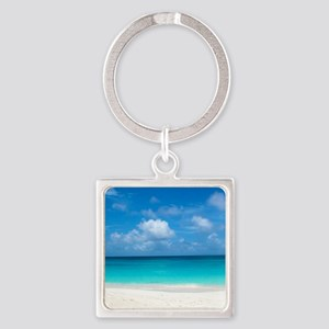 Tropical Beach View Cap Juluca Ang Square Keychain