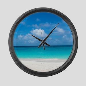 Tropical Beach View Cap Juluca An Large Wall Clock