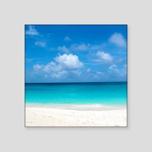 "Tropical Beach View Cap Jul Square Sticker 3"" x 3"""